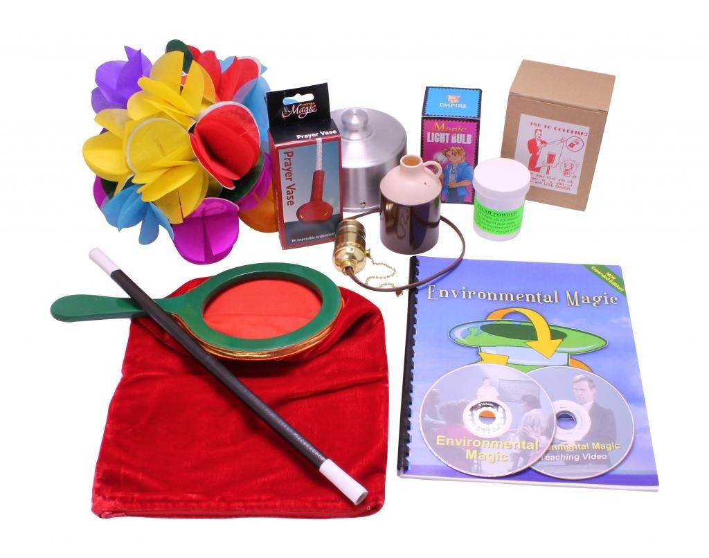 Contents of the environmental magic kit laid out