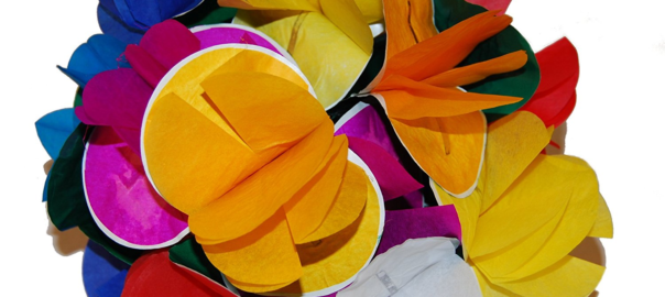photo of colorful paper flowers